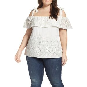 Lucky Brand Eyelet Embroidery Off Shoulder Blouse
